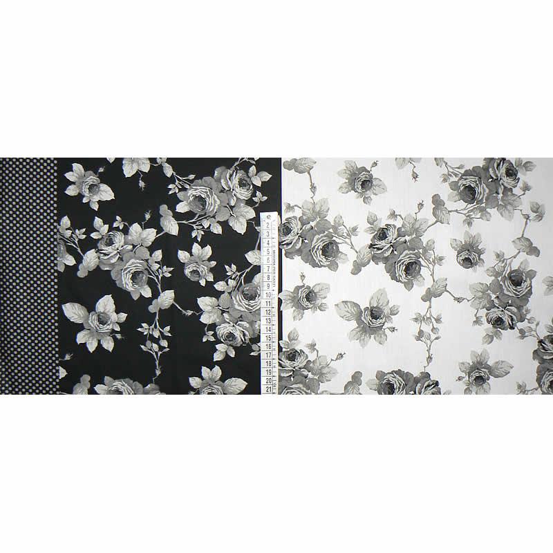 548a8e349f5d Bavlněný satén látka 27x72cm černobílá květy zbytek na patchwork (1P77)