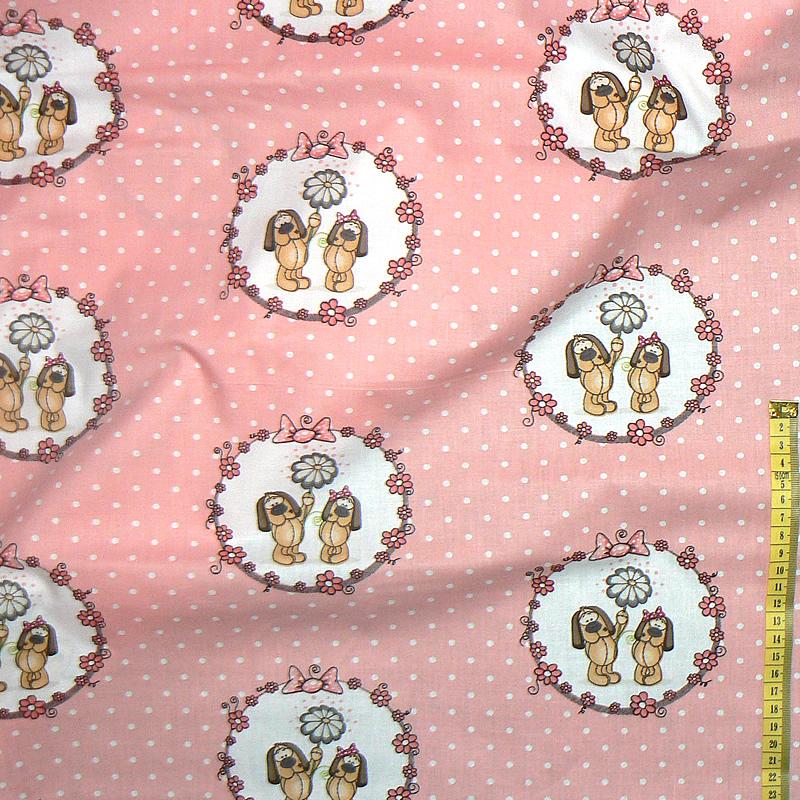 0100D Bavlněná látka plátno 40x79cm pejsci v kruhu růžovooranžová eb1cf29d75d